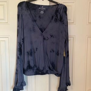 AEO Bell Sleeve Crossover Top NWT
